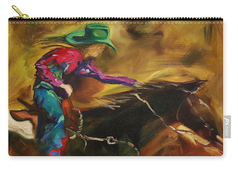 Western Art Carry-all Pouch featuring the painting Barrel Racer by Diane Whitehead
