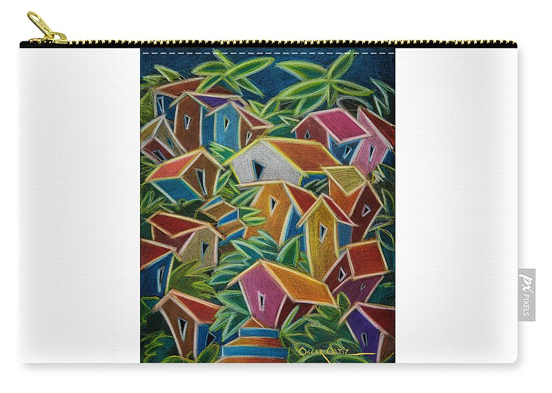 Landscape Carry-all Pouch featuring the painting Barrio Lindo by Oscar Ortiz