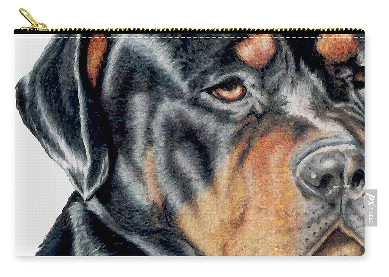 Rottweiler Carry-all Pouch featuring the drawing Bart Detail by Kristen Wesch