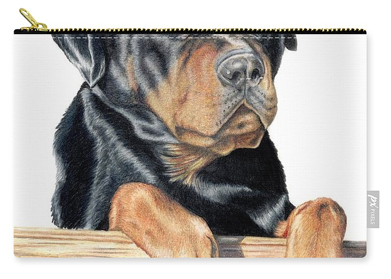 Dog Carry-all Pouch featuring the drawing Bart by Kristen Wesch