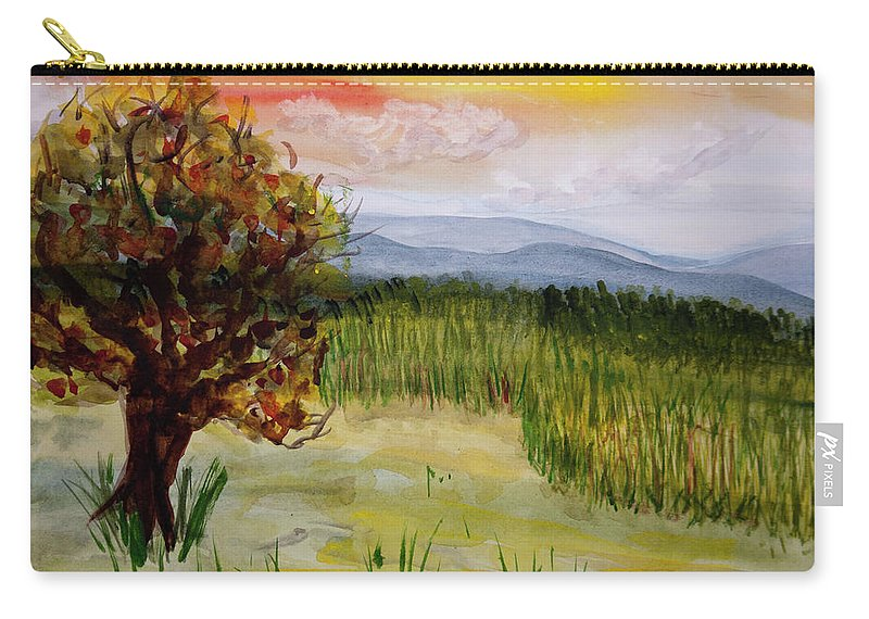 Barton Carry-all Pouch featuring the painting Barton Sunset by Donna Walsh