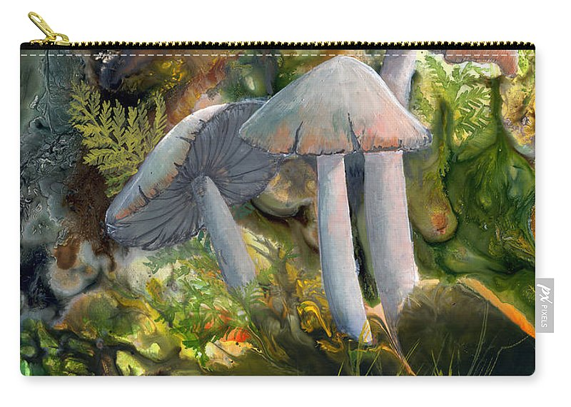 Mushrooms Carry-all Pouch featuring the painting Base Camp by Sherry Shipley