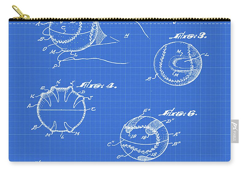 Baseball Carry-all Pouch featuring the photograph Baseball Training Device Patent 1961 Blueprint by Bill Cannon