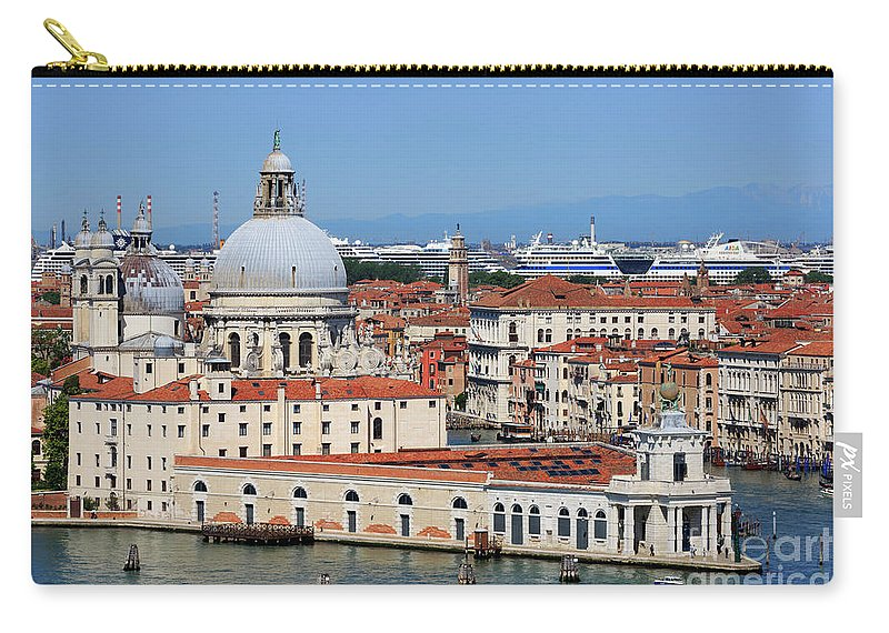 Basilica Della Salute Carry-all Pouch featuring the photograph Basilica Della Salute And Punta Della Dogana In Venice Italy by Louise Heusinkveld