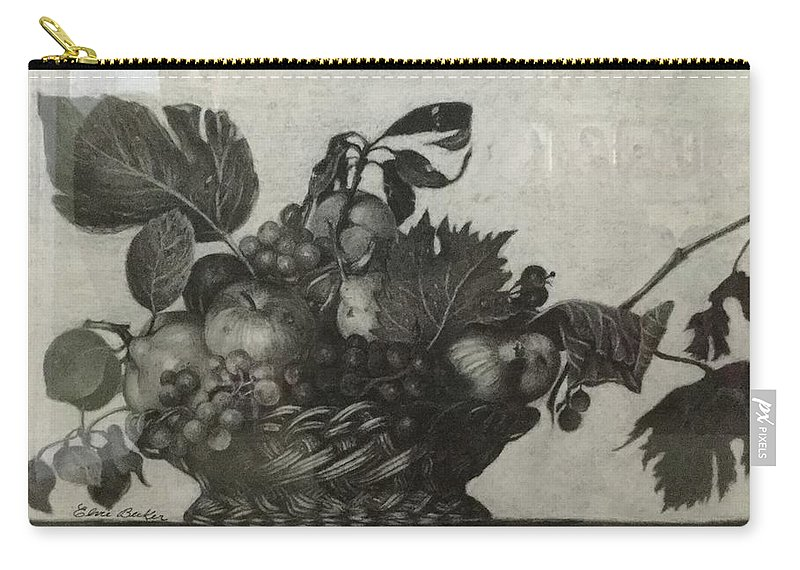 Apple Carry-all Pouch featuring the drawing Basket Of Fruit by Elvie Becker