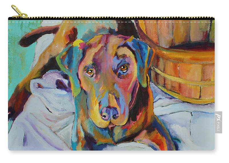 Chocolate Lab Carry-all Pouch featuring the painting Basket Retriever by Pat Saunders-White