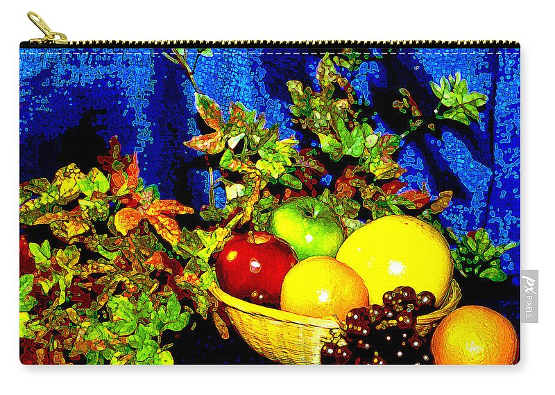 Fruit Carry-all Pouch featuring the photograph Basket With Fruit by Nancy Mueller