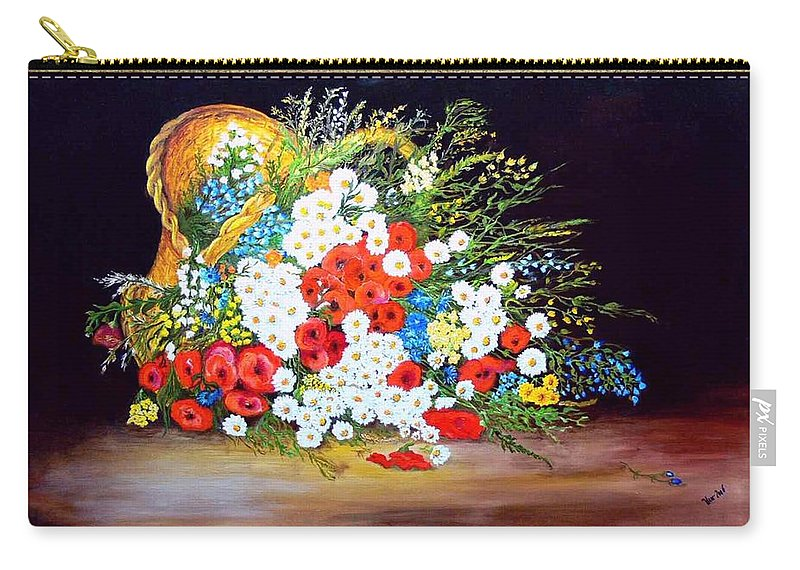 Summer Carry-all Pouch featuring the painting Basket With Summer Flowers by Helmut Rottler