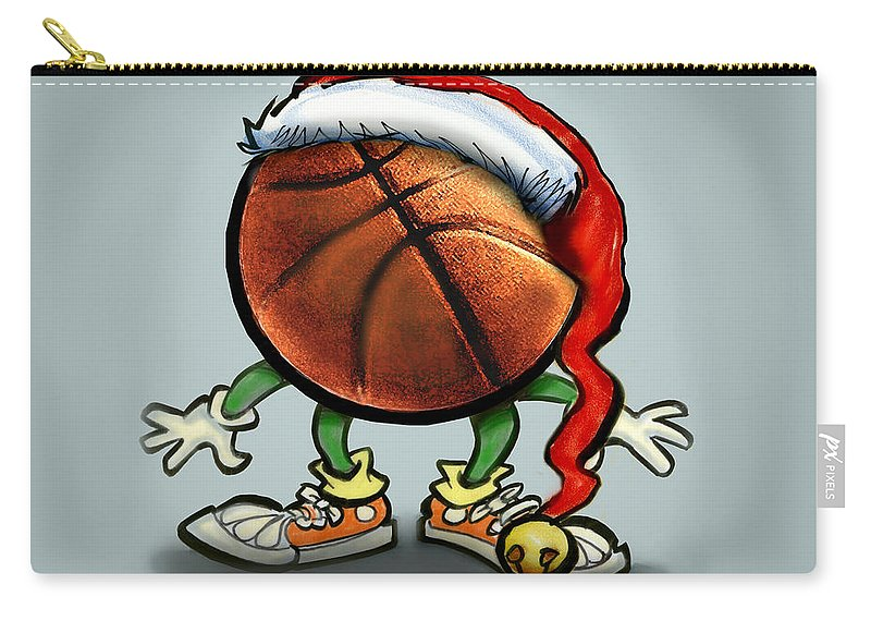 Basketball Carry-all Pouch featuring the greeting card Basketball Christmas by Kevin Middleton