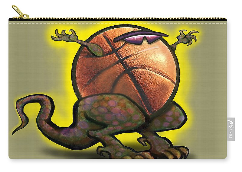 Basketball Carry-all Pouch featuring the digital art Basketball Saurus Rex by Kevin Middleton