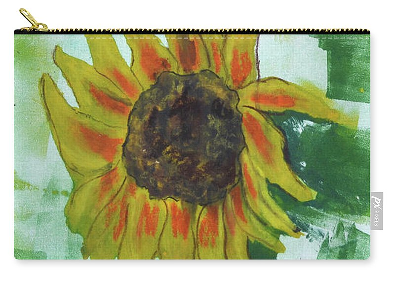 Sunflower Carry-all Pouch featuring the mixed media Basking In The Sun by Cori Solomon