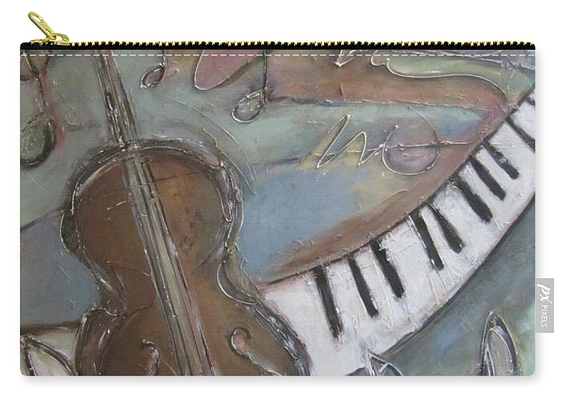 Painting Carry-all Pouch featuring the painting Bass And Keys by Anita Burgermeister
