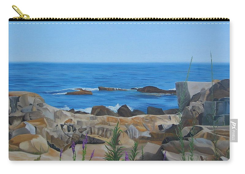 Seascape Carry-all Pouch featuring the painting Bass Rocks Gloucester by Lea Novak