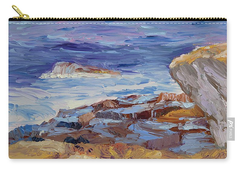 Seascape Painting Carry-all Pouch featuring the painting Bass Rocks by Lea Novak