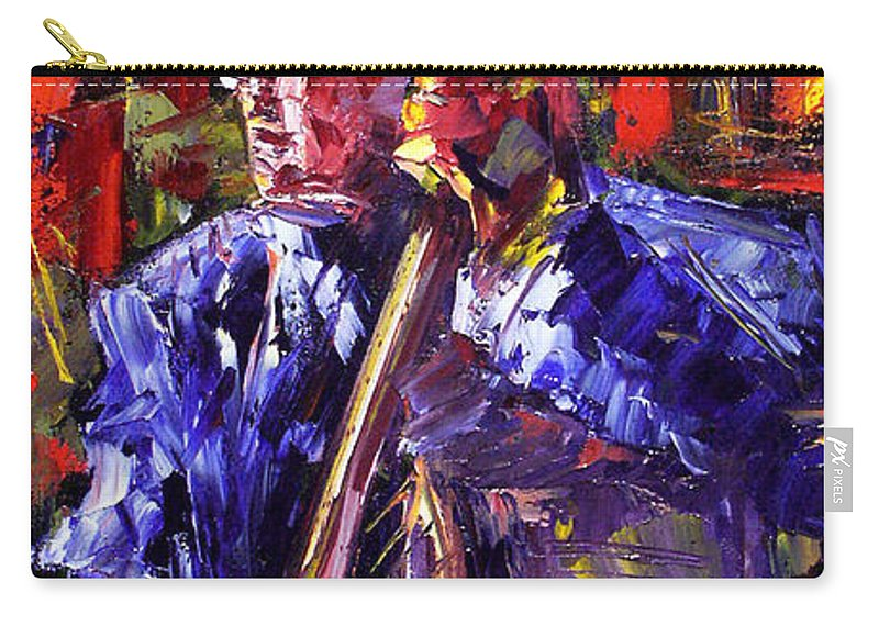 Jazz Carry-all Pouch featuring the painting Bass Walk-up by Debra Hurd