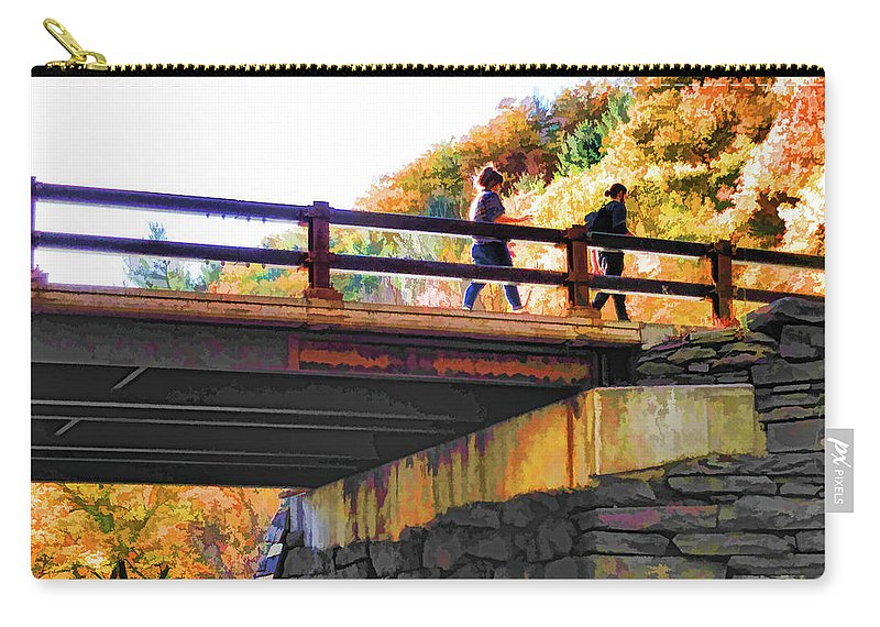 Bastion Falls Bridge Carry-all Pouch featuring the painting Bastion Falls Bridge 1 by Jeelan Clark