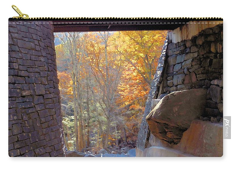 Bastion Falls Bridge Carry-all Pouch featuring the painting Bastion Falls Bridge 7 by Jeelan Clark