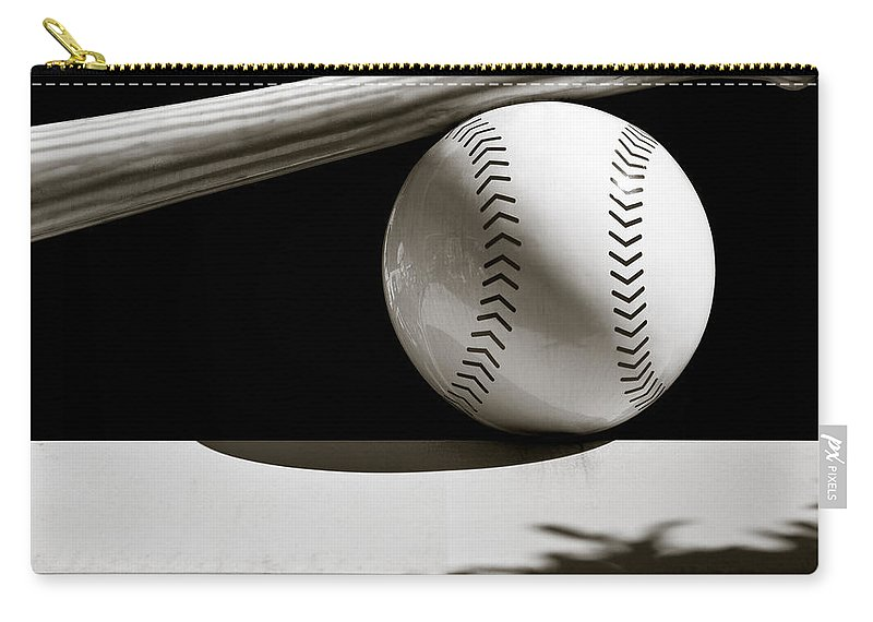 Baseball Bat Carry-all Pouch featuring the photograph Bat And Ball by Dave Bowman