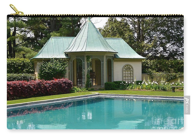 Chanticleer Bath House Carry-all Pouch featuring the photograph Chanticleer Bath House A by Jeannie Rhode