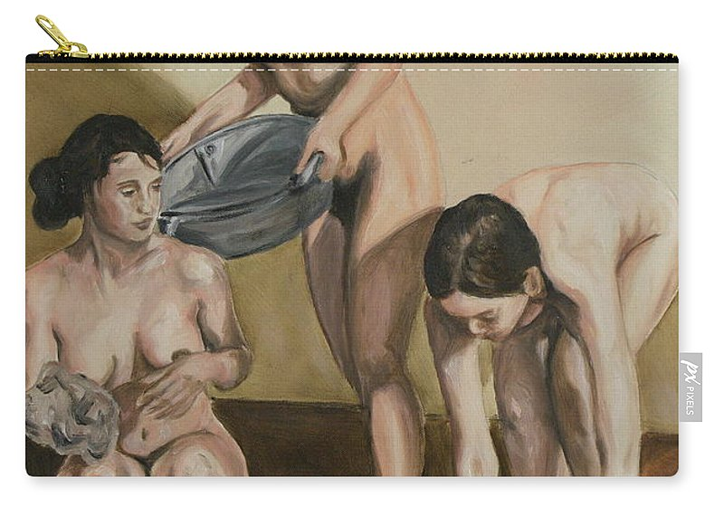 Nude Carry-all Pouch featuring the painting Bath by Stanimir Stoykov