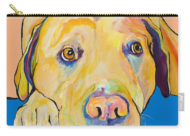 Dog Paintings Yellow Lab Puppy Colorful Animals Pets Carry-all Pouch featuring the painting Bath Time by Pat Saunders-White