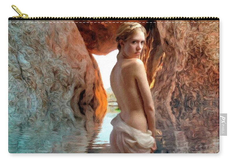 Woman Carry-all Pouch featuring the digital art Bathing Maiden by Snake Jagger