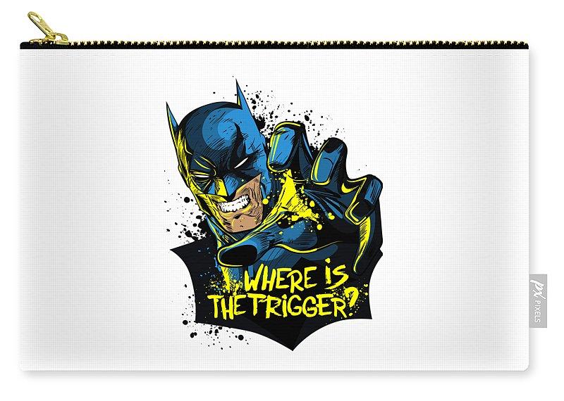 Batman Art Carry-all Pouch featuring the digital art Batman Art by Hannah Dori