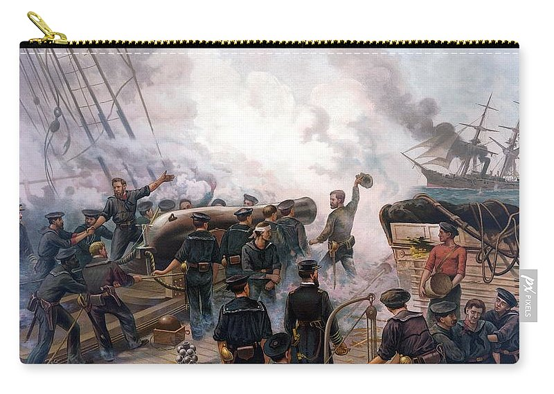 Civil War Carry-all Pouch featuring the painting Battle Between Kearsarge And Alabama by War Is Hell Store