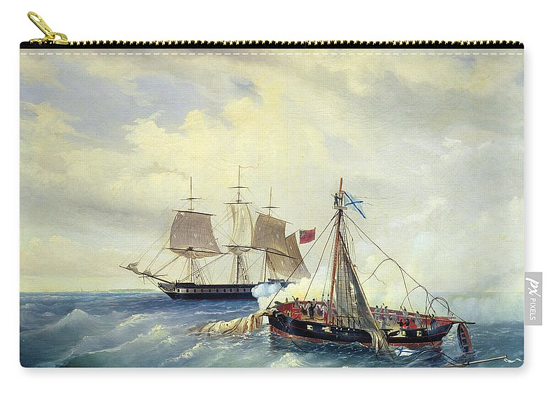 Battle Carry-all Pouch featuring the painting Battle Between The Russian Ship Opyt And A British Frigate Off The Coast Of Nargen Island by Leonid Demyanovich Blinov