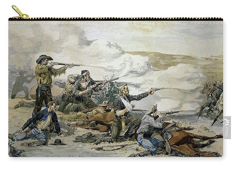 Battle Carry-all Pouch featuring the painting Battle Of Beecher's Island by Frederic Sackrider Remington
