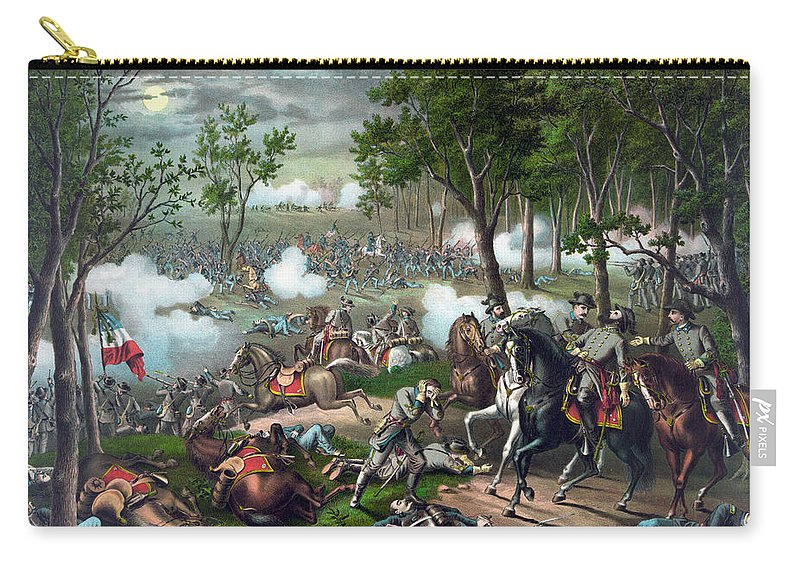 Civil War Carry-all Pouch featuring the painting Battle Of Chancellorsville - Death Of Stonewall by War Is Hell Store