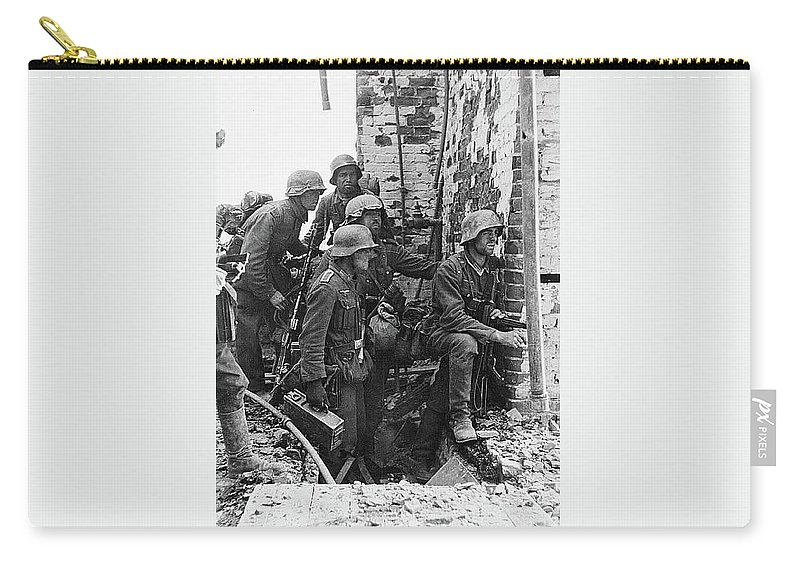 Battle Of Stalingrad Nazi Infantry Street Fighting 1942 Carry-all Pouch featuring the photograph Battle Of Stalingrad Nazi Infantry Street Fighting 1942 by David Lee Guss