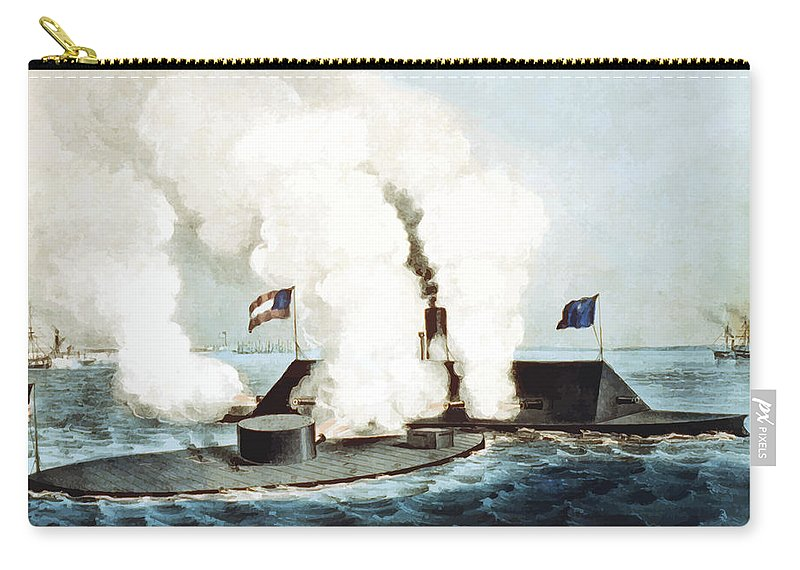 Monitor Carry-all Pouch featuring the painting Battle Of The Monitor And Merrimack by War Is Hell Store