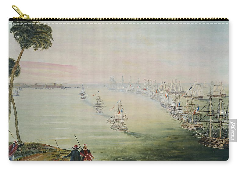 Sea Battle Carry-all Pouch featuring the painting Battle Of The Nile by Richard Barham