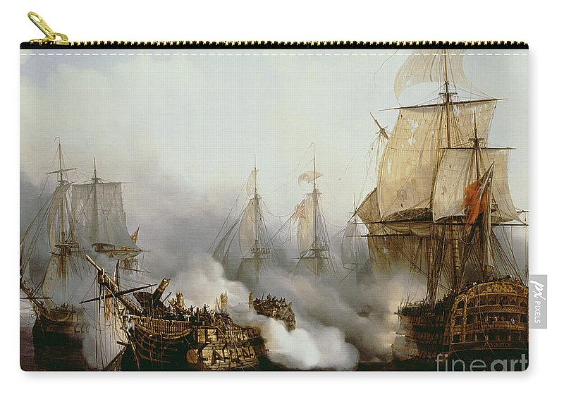 Battle Of Trafalgar By Louis Philippe Crepin Carry-all Pouch featuring the painting Battle of Trafalgar by Louis Philippe Crepin