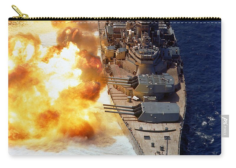 Vertical Carry-all Pouch featuring the photograph Battleship Uss Iowa Firing Its Mark 7 by Stocktrek Images