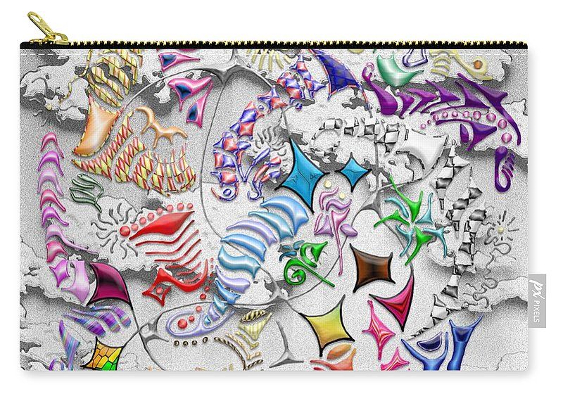 Abstract Carry-all Pouch featuring the digital art Battling Kites -- Gray by Mark Sellers