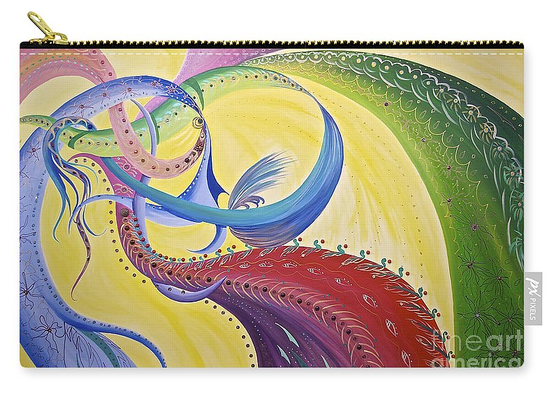 Ribbons Carry-all Pouch featuring the painting Baubles N Bows by Nancy Cupp