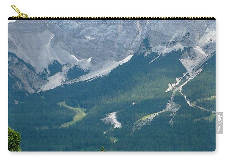 Mountains Carry-all Pouch featuring the photograph Bavarian Alps With Shed by Carol Groenen