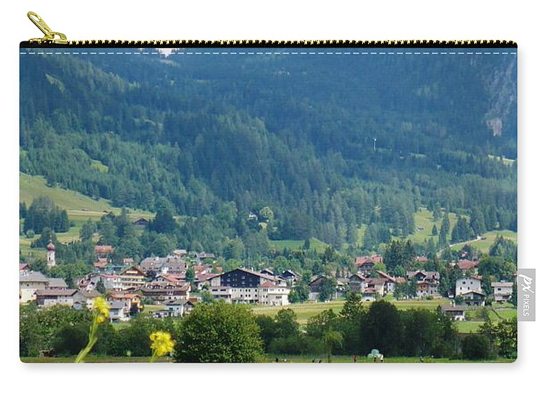 Bavaria Carry-all Pouch featuring the photograph Bavarian Alps With Village And Flowers by Carol Groenen