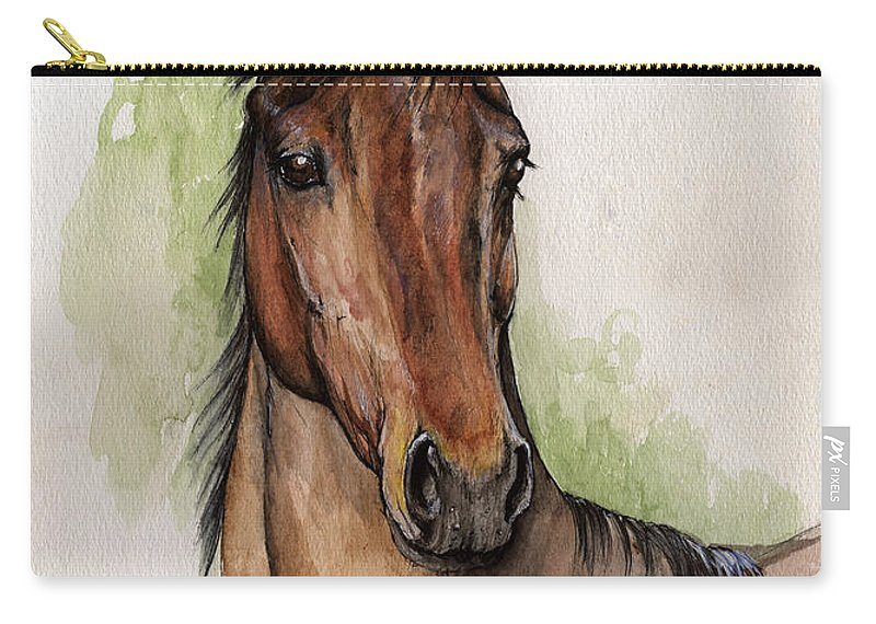 Horse Carry-all Pouch featuring the painting Bay Horse Portrait Watercolor Painting 02 2013 by Angel Ciesniarska