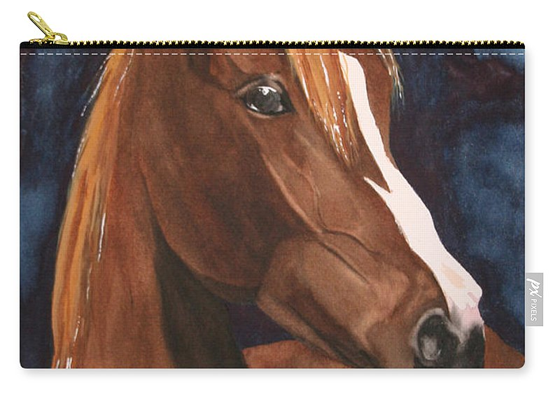 Horse Carry-all Pouch featuring the painting Bay On Blue 2 by Jean Blackmer