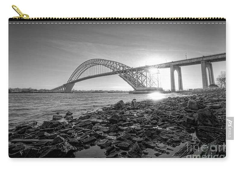 Black And White Carry-all Pouch featuring the photograph Bayonne Bridge Black And White by Michael Ver Sprill
