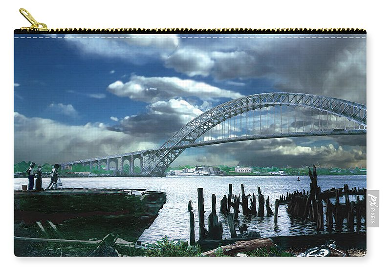 Seascape Carry-all Pouch featuring the photograph Bayonne Bridge by Steve Karol