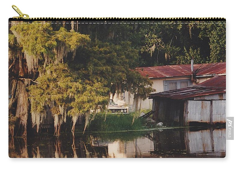 Bayou Carry-all Pouch featuring the photograph Bayou Shack by Michelle Powell