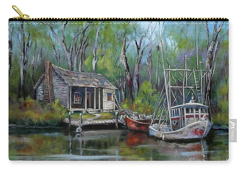 Louisiana Bayou Camp Carry-all Pouch featuring the painting Bayou Shrimper by Dianne Parks