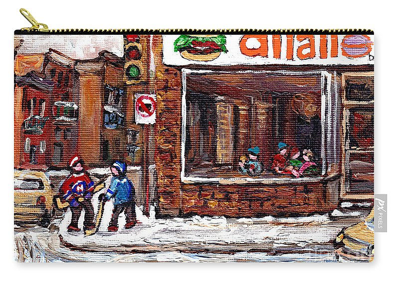 Original Montreal Paintings For Sale Carry-all Pouch featuring the painting Scenes De Rue De Montreal St Henri Partie De Hockey En Hiver Hockey At Dilallo's Burger by Carole Spandau
