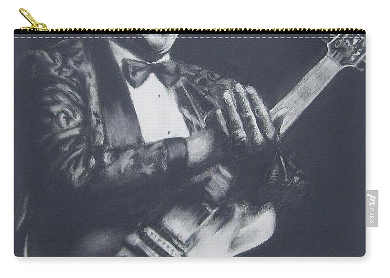 B.b. King Carry-all Pouch featuring the drawing Bb King by Cynthia Campbell