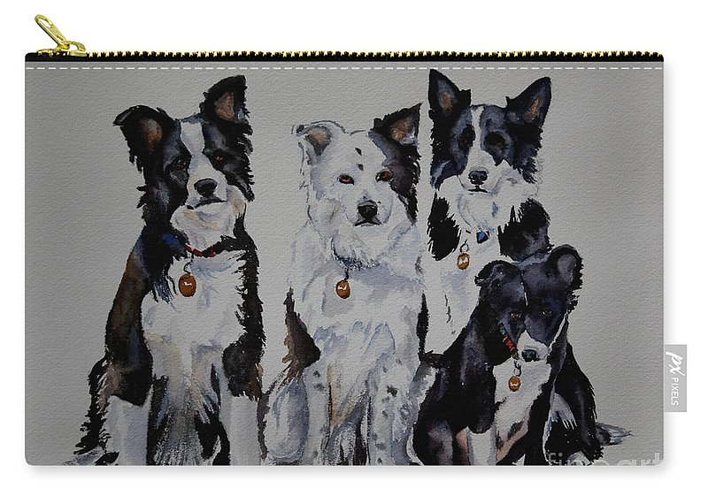 Animal Carry-all Pouch featuring the painting Bc Family Portrait by Susan Herber
