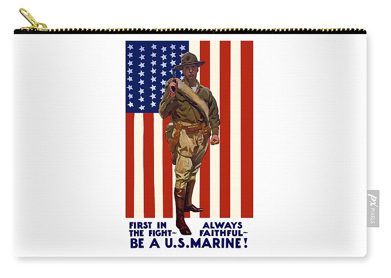 Marine Corps Carry-all Pouch featuring the painting Be A Us Marine by War Is Hell Store